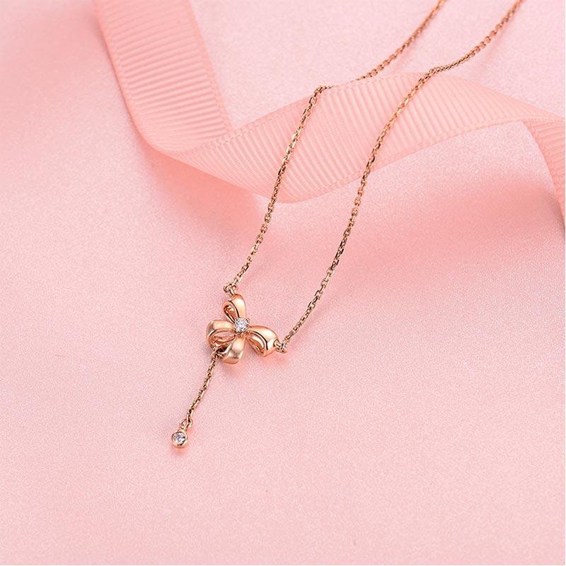 甜蜜 18K玫瑰金钻石套链