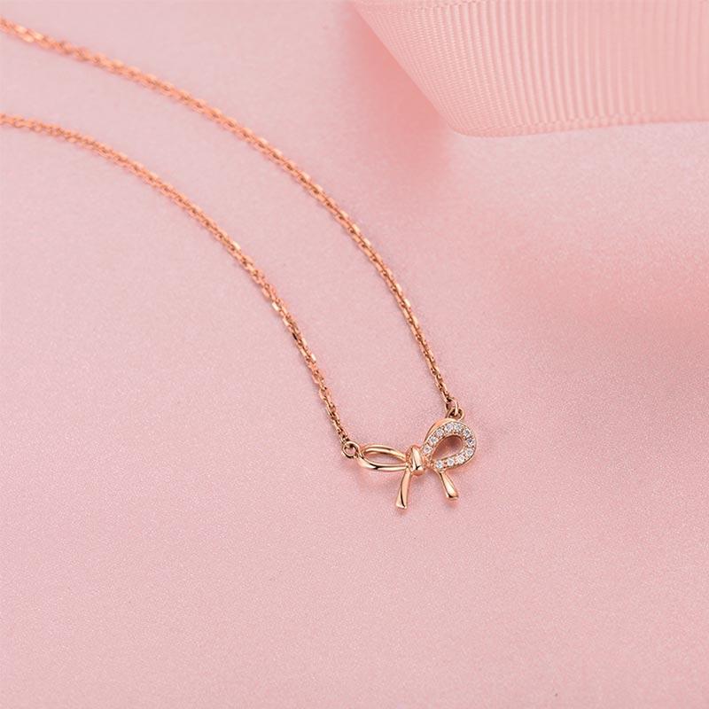 心悦 18k玫瑰金钻石套链