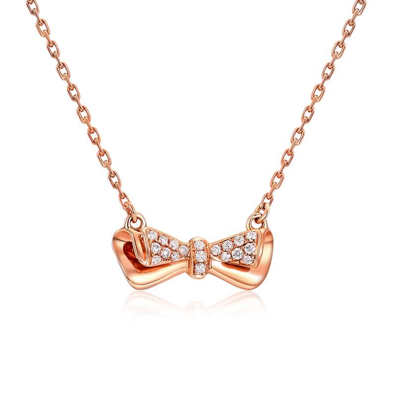 温情 18k玫瑰金钻石项链