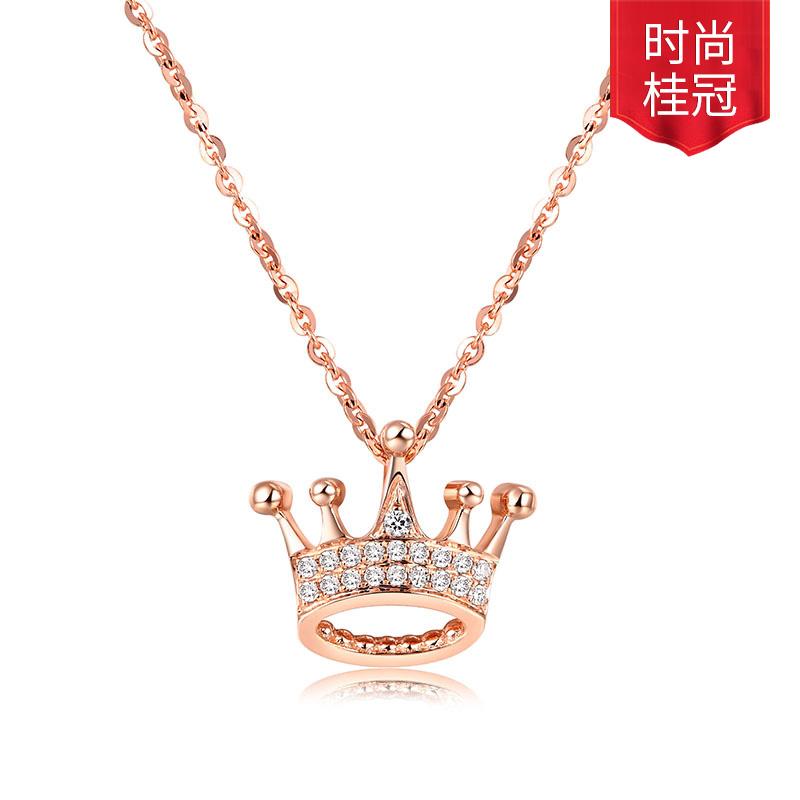 女王皇冠 18K金钻石套链 时尚饰品 钻饰