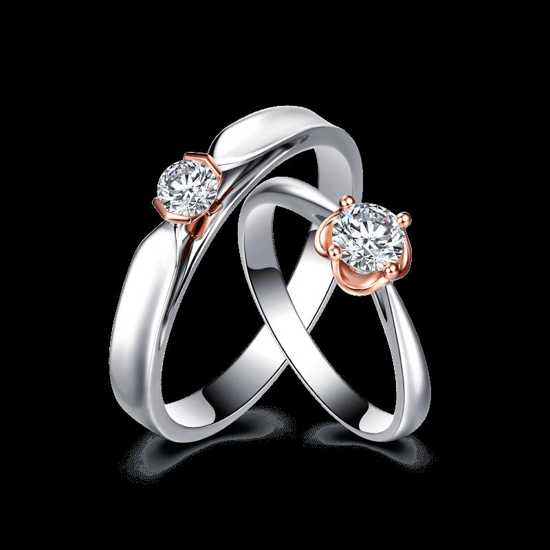 爱相伴 18K金钻石对戒 天生一对系列