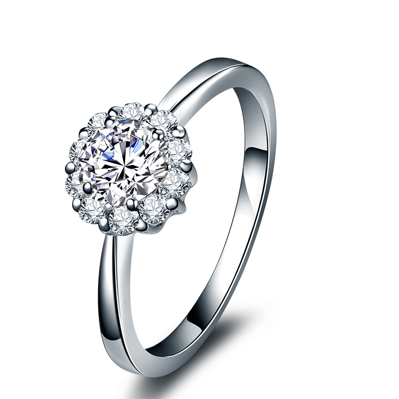 倾城 90分效果白18K金钻石女戒 结婚钻戒