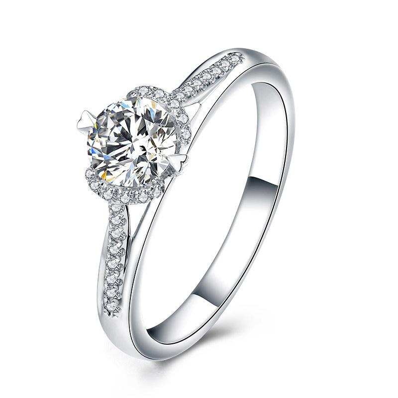 定情之吻 白18K金钻石女戒 结婚钻戒