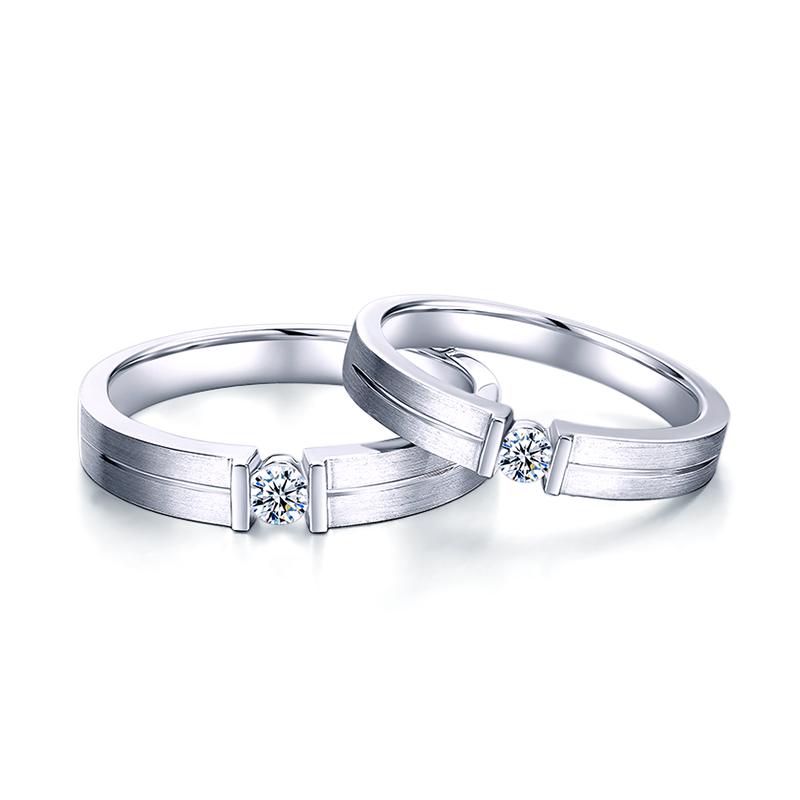 一生相许 18K金同胚钻石对戒 天生一对系列